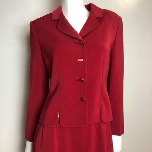 Le Suit 2 Piece Skirt Button Blazer Suit Deep Red